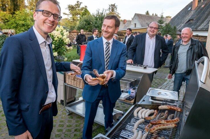 Zu den von Alexander Krauß in die Olbernhauer Saigerhütte eingeladenen Gästen gehörte auch Sachsens Ministerpräsident Michael Kretschmer.