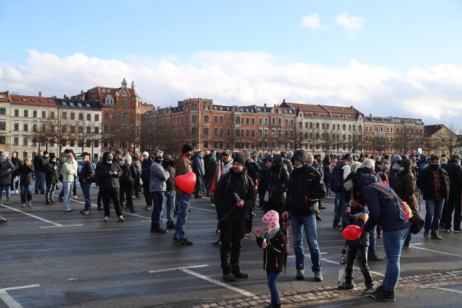 Auch in Zwickau versammelten sich am Samstagnachmittag Teilnehmer einer Kundgebung.