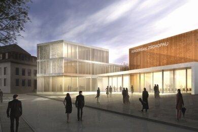 Diesen Entwurf zu einem Bürgersaal auf dem Gelände des früheren Filmecks hat das Chemnitzer Architekturbüro Weiße 2018 vorgestellt. Im Januar dieses Jahres erhielt das Unternehmen den Planungsauftrag zum Bau des Gebäudes. Im Oktober soll das Projekt dem Zschopauer Stadtrat vorgestellt werden.