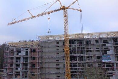 Die Richtkrone markiert den Baufortschritt: Auf der Großbaustelle auf dem Kuhberg ist eine wichtige Etappe erreicht. Über den Winter sollen dann die Arbeiten im Gebäudeinneren Fahrt aufnehmen.
