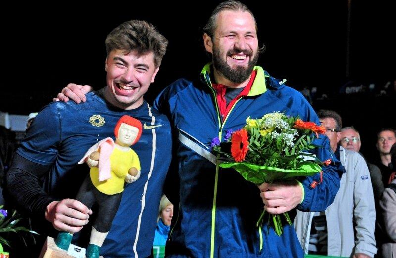 David Storl und Tomasz Majewski verstehen sich außerhalb des Rings sehr gut. Der Chemnitzer landete gestern beim Istaf in Berlin mit 21,41 Metern einen weiteren Sieg, der Pole belegte mit 20.64 m den fünften Rang.