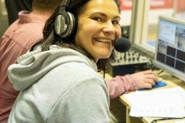 Alexandra Uhlig am Samstag als Co-Kommentatorin.