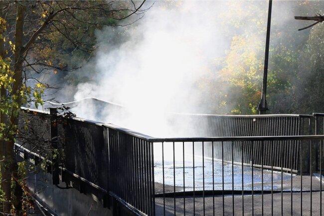 Das Feuer zerstörte auch Versorgungsleitungen, die in der Brücke liegen. Dabei gelangten Stoffe in die Zschopau, die aufgefangen und entsorgt werden mussten.