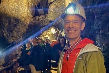 Moderator Peter Twiehaus zu Gast im Besucherbergwerk Markus-Röhling-Stolln.