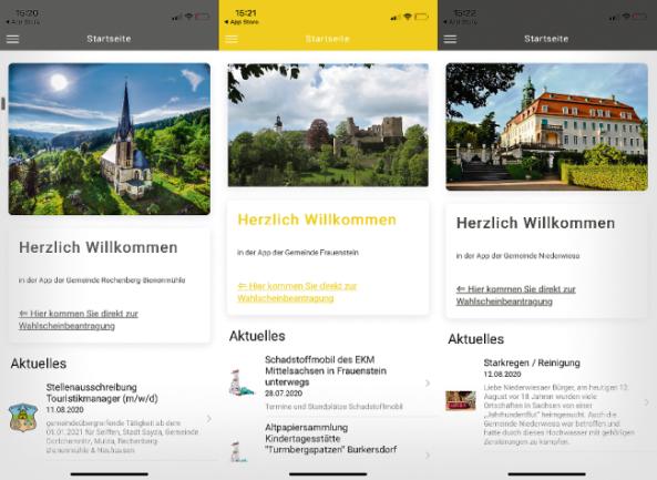 Rechenberg-Bienenmühle, Frauenstein und Niederwiesa nutzen die Gemeinde-App als Dienstleistungsangebot für ihre Bürger bereits.