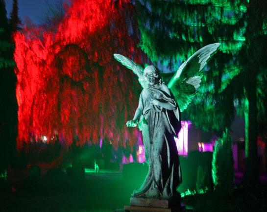"""Anlässlich der Gedenkwoche """"150 Jahre Friedhof"""" wird der Friedhof in Glauchau illuminiert."""