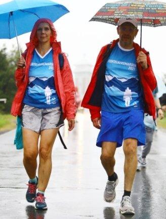 Katja Kautzsch und Stefan Dumke waren erleichtert, als sie den Gipfel erreicht hatten.