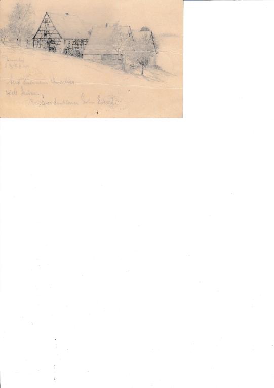 Die Postkarte aus dem Jahr 1903 zeigt die Zeichnung eines Bauernguts und Grußworte von einem Sohn an seine Eltern.