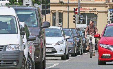 Keine ungefährliche Angelegenheit: Radfahren in Zwickau.
