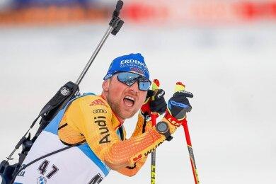 Alles gegeben, viel gewonnen: Erik Lesser schnappt nach seinem Coup im 20-Kilometer-Einzel von Kontiolahti nach Luft.