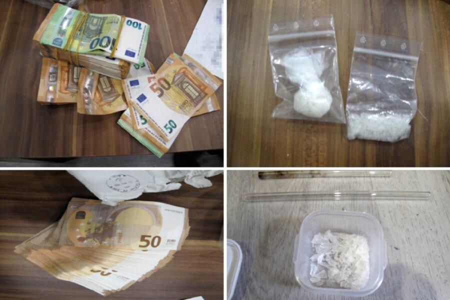 Einige Fundstücke die bei Durchsuchungen wegen Drogenhandels im Erzgebirge entdeckt wurden.