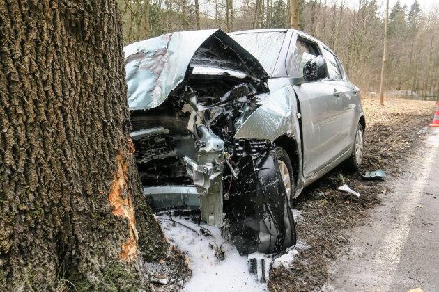 Suzuki kollidiert mit Baum