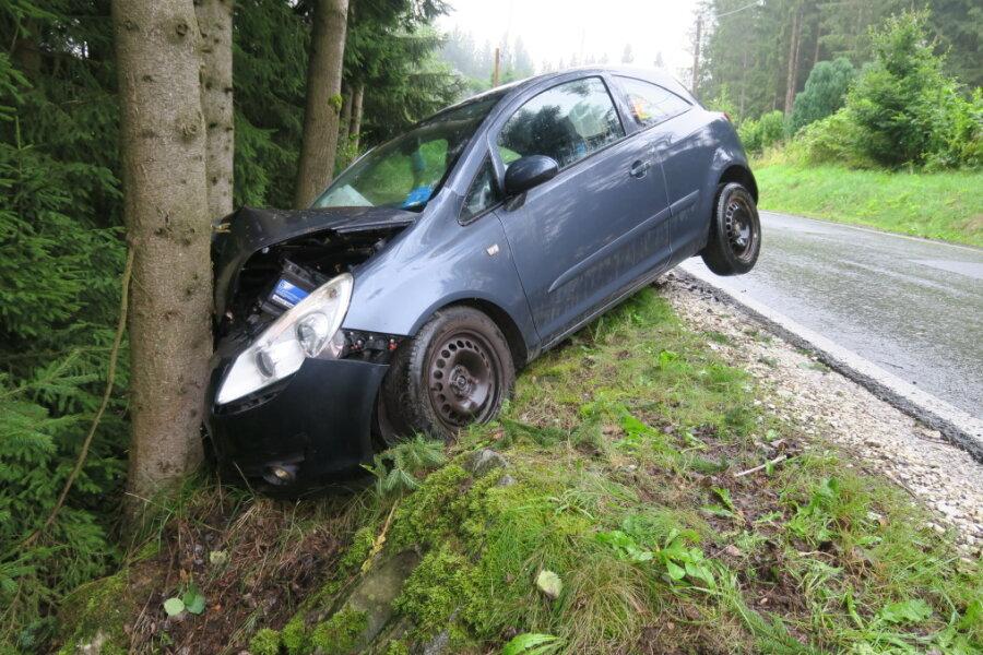 Opel prallt gegen Baum: Zwei Personen schwerverletzt