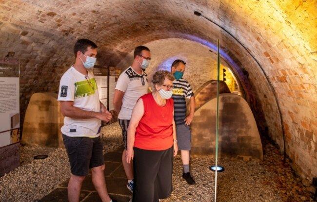 Auf der Rochsburg herrschen im Keller angenehme Temperaturen von 15Grad Celsius.