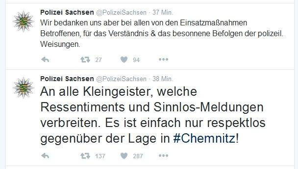 Die Polizei bedankte sich via Twitter für das besonnene Verhalten der Chemnitzer, kritisierte aber das Verhalten einiger Nutzer von sozialen Netzwerken.