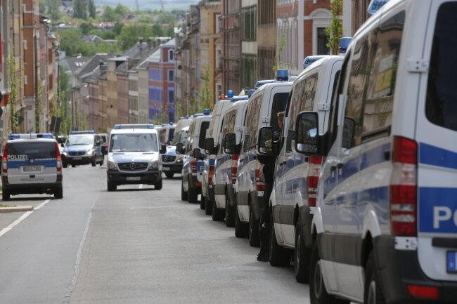 Polizeiwagen auf dem Sonnenberg.