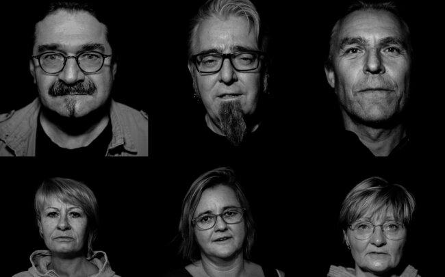 """Sechs von 14 Kulturschaffenden und Gastronomen aus der Region, die im Chor des Videos zu """"Wenn wir heute schweigen"""" mitgesungen haben (von links oben, im Uhrzeigersinn): Ekkehard Glaß, Musiker und Autor, Auerbach; Nico Särchinger, Pils-Pub Nächterle, Auerbach; Tino Süß, Gambrinus Klingenthal; Romy Hartwig, Göltzschtalgalerie Auerbach; Ines Felsberg und Tatja Tuchscherer, Gaststätte Grünes Tal, Auerbach-Brunn."""