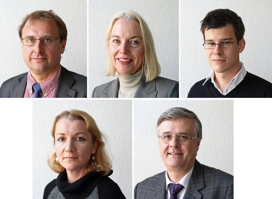Die Experten; oben: Sven Seifert, Prof. Katrin Engelmann und Dr. Mirko Esche; unten: Dr. Gitta Gericke und Prof. Torsten Siepmann