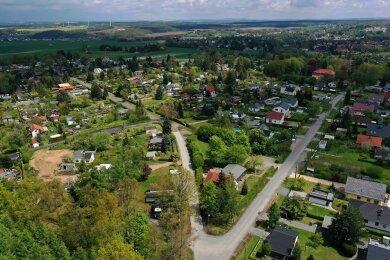 Die Werdauer Waldsiedlung aus der Luft gesehen. Das Gebiet im Westen der Stadt umfasst 330 Grundstücke.