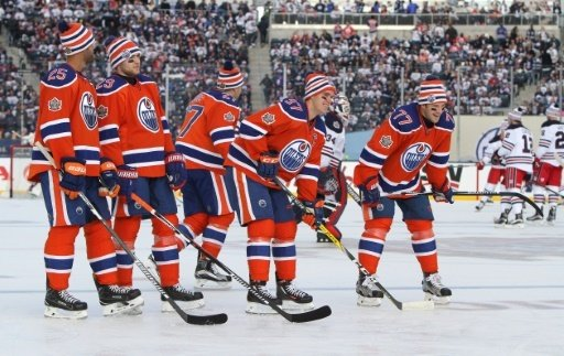 Draisaitl (2.v.l.) und die Oilers unterlagen Ottawa