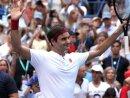 Roger Federer feiert seinen Sieg über Nick Kyrgios