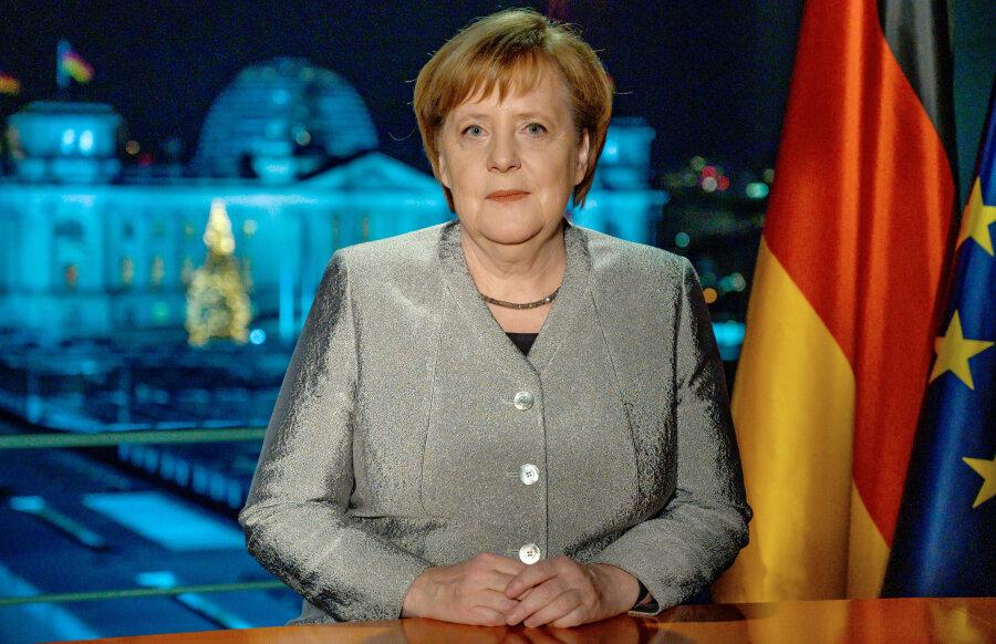 Bundeskanzlerin Angela Merkel (CDU), aufgenommen nach der Aufzeichnung ihrer Neujahrsansprache im Kanzleramt.