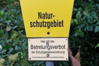 Die Beschilderung des Naturschutzgebietes bei Callenberg weist auf das Betretungsverbot hin, das zunehmend häufiger ignoriert wird.