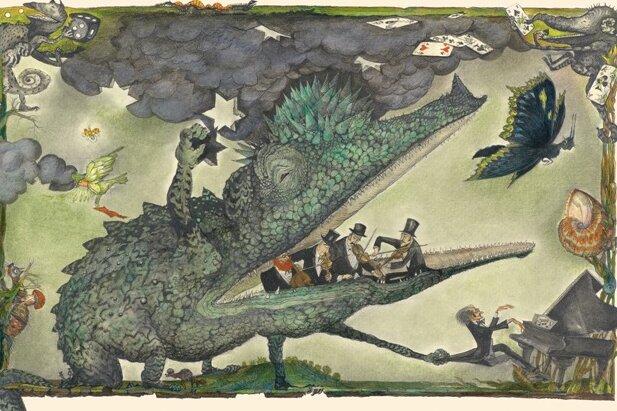 """Orchestersterben mal ganz anschaulich: Das Bilderbuch """"Der Dunkelmunkel"""" erschien 1987. Regine Heinecke verlieh dem allesfressenden Untier von Autor Dieter Mucke mit ihren Bildern eine Gestalt. Die Illustrationen sind Teil der neuen Ausstellung auf Schloss Voigtsberg in Oelsnitz."""