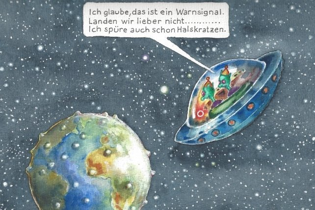 Sieht der Erdball nicht aus wie ...? Dem weltweiten Thema Corona widmet sich Fichtner auch mit der Karikatur.