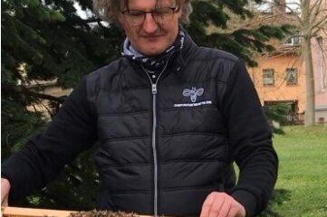 Jens Ebert präsentiert die Bienen.