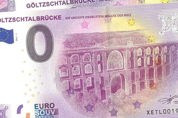 Die 0-Euro-Souvenirscheine mit dem Motiv der Göltzschtalbrücke sind in der Normalausgabe auf 2000 Stück limitiert.