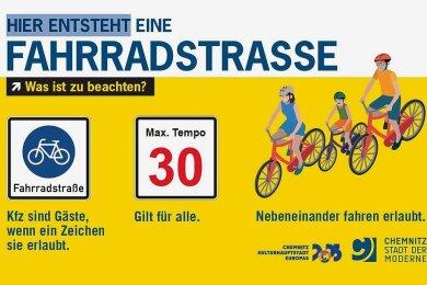 Hinweistafel der Stadtverwaltung zur ersten Chemnitzer Fahrradstraße.