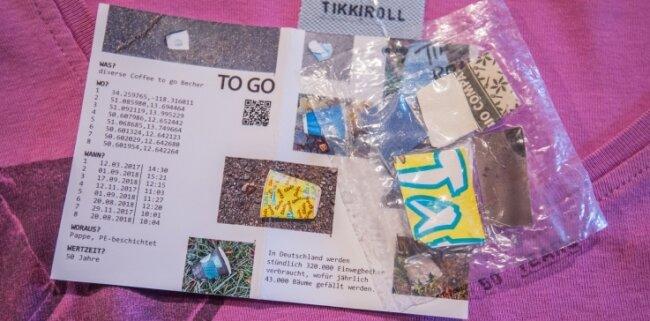 Zu den Kleidungsstücken gibt es ausführliche Informationen, wo der Müll gesammelt wurde. Dazu liegt eine Materialprobe bei.