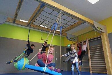 Der neue Sportraum der Evangelische Grundschule in Meerane war einmal ein OP-Saal. Davon ist heute nur noch wenig zu sehen.