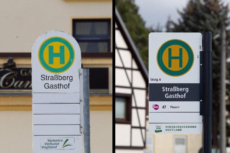 """Die Bushaltestelle """"Straßberg Gasthof"""" bietet zurzeit eine Besonderheit. In einer Fahrtrichtung steht im Plauener Stadtteil Straßberg noch das alte Schild (link), während in der Gegenrichtung die neue """"Bushaltestelleneinrichtung"""" bereits installiert worden ist - als eine der ersten von 1890 im Vogtlandkreis."""
