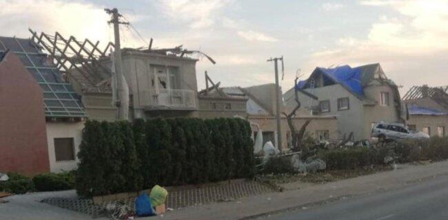 Mehr als 600 Häuser in sieben Dörfer der Region Südmähren, wie hier in Breclav, wurden zerstört.