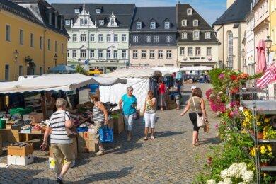 Nach dem Ende der Umleitung fand der Zschopauer Wochenmarkt erstmals wieder an seinem angestammten Platz statt.