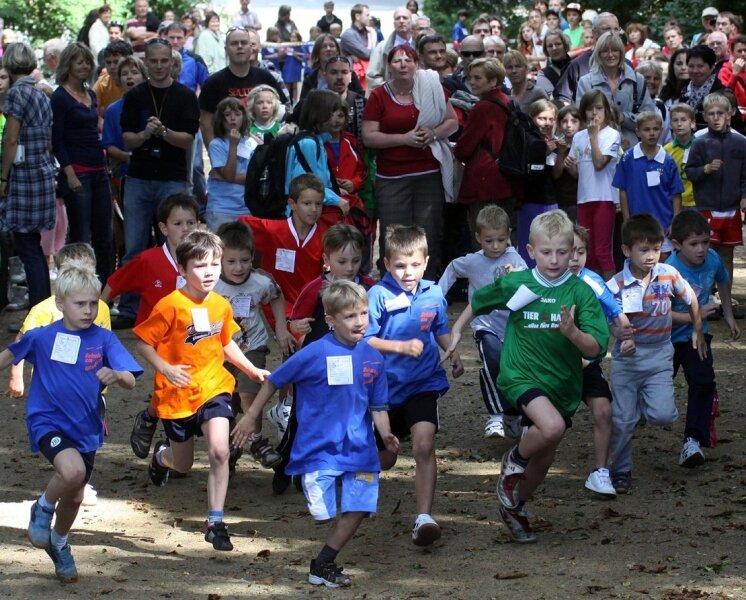 """<p class=""""artikelinhalt"""">Der Cross der Schulen am Schwanenteich - im Bild die Altersklasse 7 der Jungen kurz nach dem Start - ist eine der besonderen Aktionen, mit denen Zwickau bei der """"Mission Olympic"""" zu punkten hofft. </p>"""