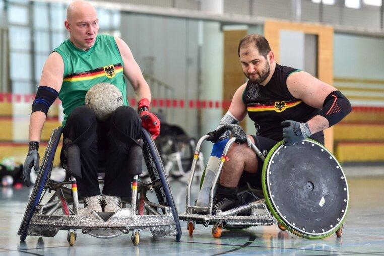 Maik Baumann (l.) und Swen Michaelis spielen natürlich nur im Training gegeneinander, ansonsten gemeinsam in der Auswahl.