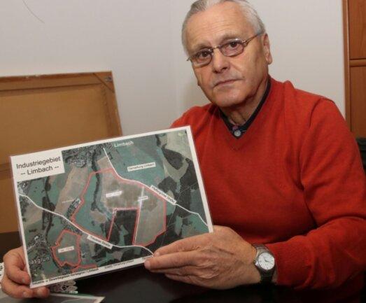Eine Karte mit roten Linien - mehr Greifbares hält Bürgermeister Bernd Damisch (FDP) aus Limbach bisher nicht in den Händen.