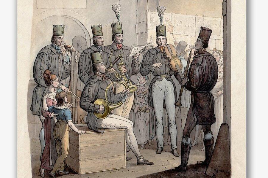 Das Steigerlied soll Immaterielles Kulturerbe in Deutschland werden, diesmal mit Unterstützung aus dem Erzgebirge. Der kolorierte Kupferstich zeigt Bergleute auf der Leipziger Messe um 1820.