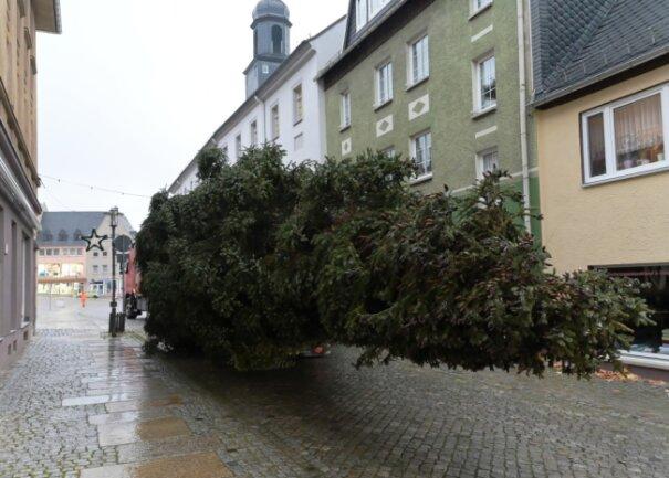 Am Montag wurde der Weihnachtsbaum zum Stollberger Markt gebracht.