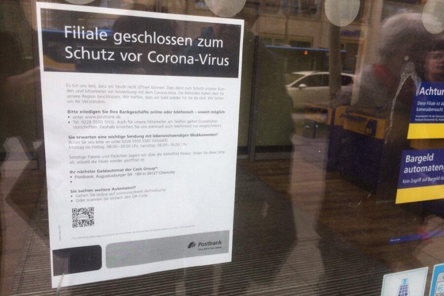 Chemnitzer Postbank-Filiale im Zentrum wegen Corona geschlossen