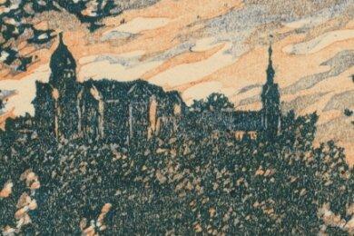 Dieser Farbholzschnitt, der laut dem Grafikantiquariat Koenitz um das Jahr 1930 entstanden sein könnte, zeigt die Rochsburg.