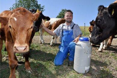 Enrico Kürschner auf einer seiner Weideflächen mit seinen Wagyu-Rindern.