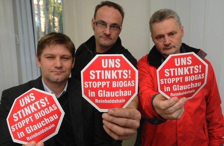 Gegen eine Biogasanlage in Reinholdshain: Torsten Gruner, André Löffler und Peter Schmidt.