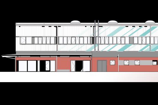 Die geplante Zweifeldhalle, von Osten gesehen. Die Zahl der Fenster wurde reduziert.