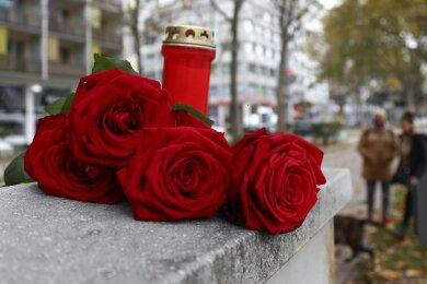Rote Rosen und eine Kerze liegen in Gedenken an die vier Opfer des Terroranschlags in der Wiener Innenstadt.