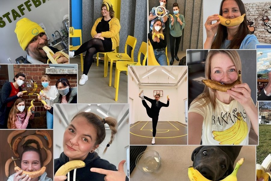 Mit Selfies und der Banane als Namensgeberin für die kanadische Firma stimmten sich die Staffbase-Mitarbeiter ein.
