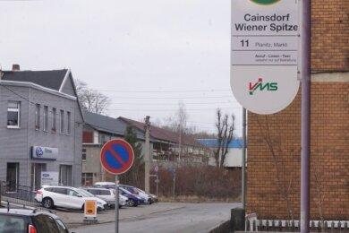 Das Anruf-Linie-Taxi startet derzeit an der Haltestelle Wiener Spitze in Cainsdorf. Doch kaum jemand steigt ein.